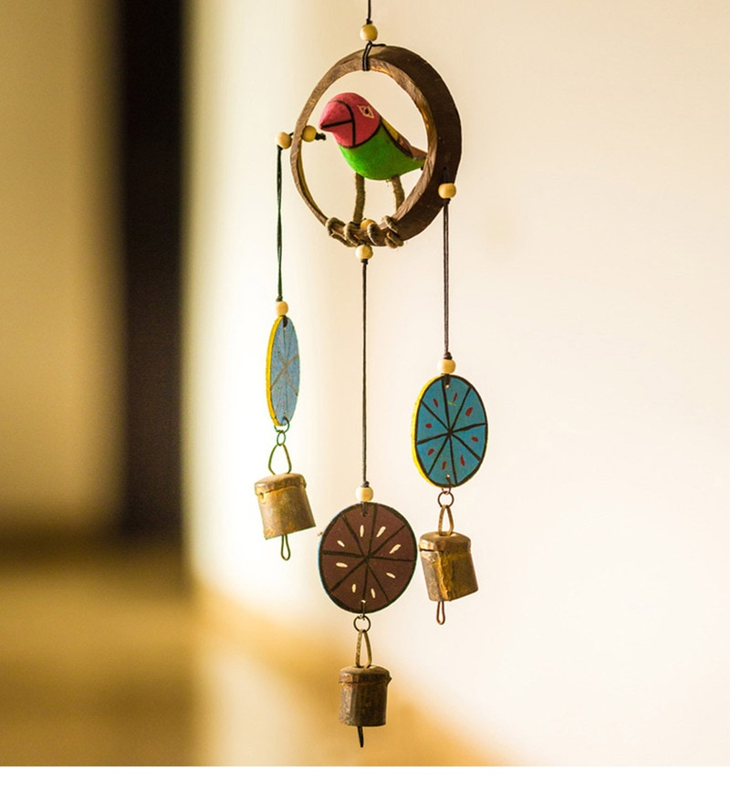 Multicolour Wood & Copper Handpainted & Handmade Decorative Hanging With Parrot by ExclusiveLane