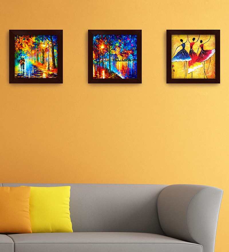 Buy Multicolour Wood Wall Art Paintings by Story@Home - Set of 3 ...