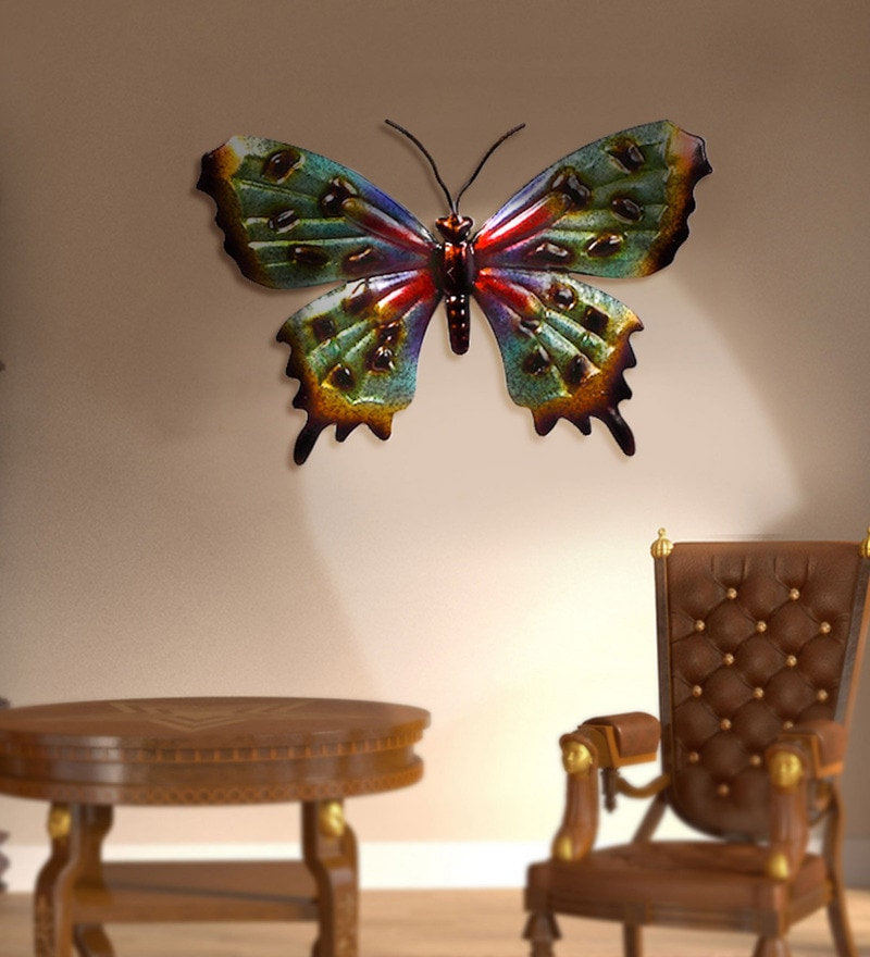 Multicolour Wrought Iron Jelly Butterfly Big Wall Hangings by Malhar