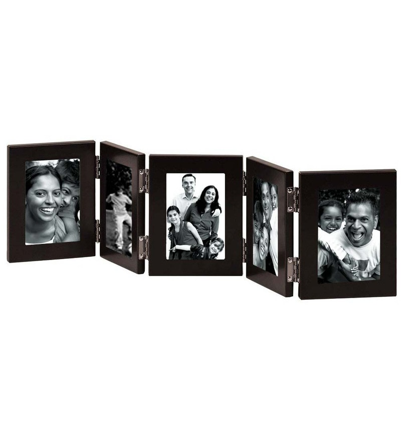 Brown Synthetic Wood 5 x 7 Inch Folding Photo Frame by Snap Galaxy