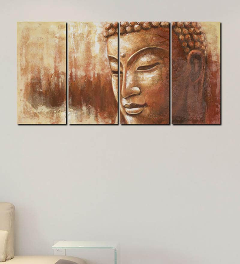 Multiple Frames buddha preaching art panels like Painting - 4 Frames by 999Store