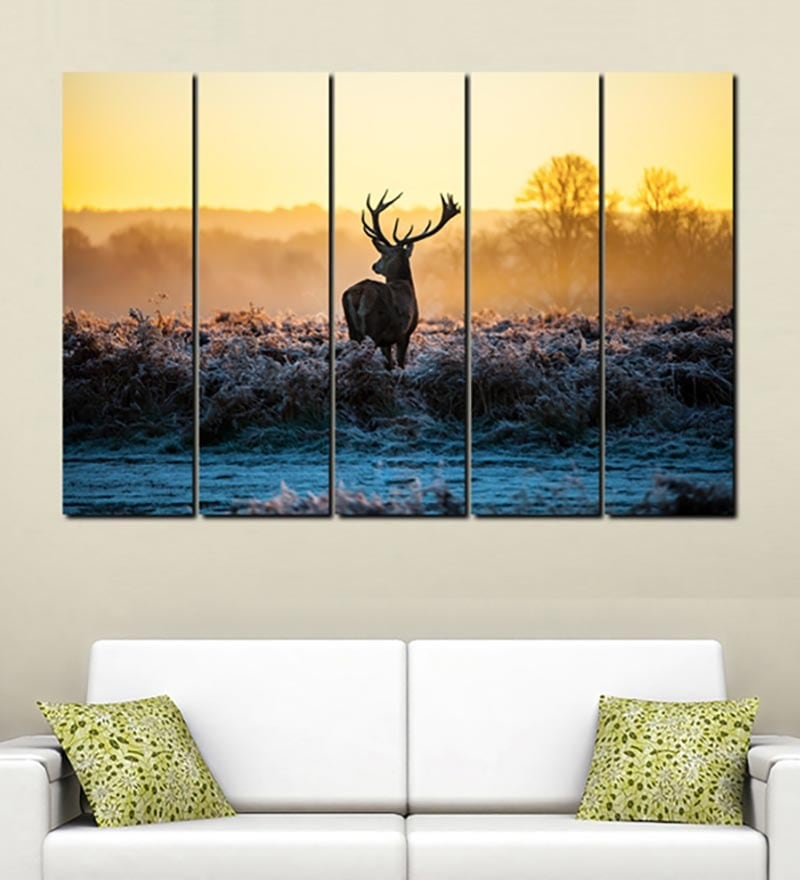 Buy Multiple Frames Printed Deer in the river Art Panels like ...