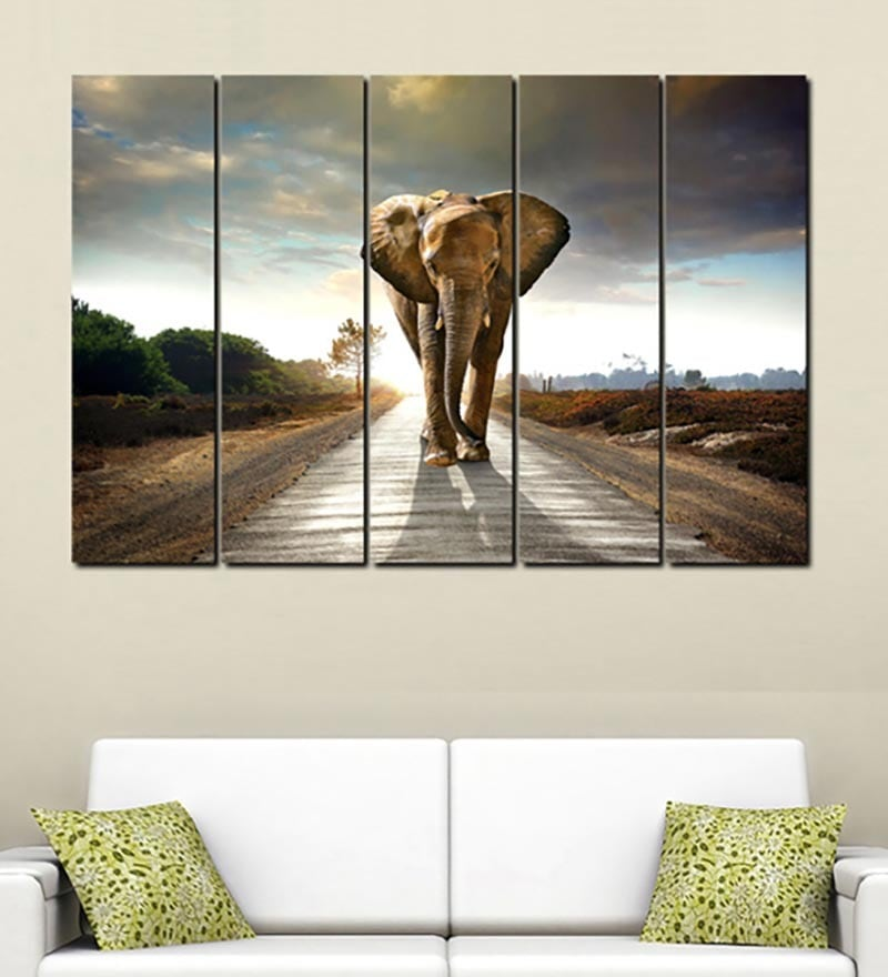 Multiple Frames Printed Elephant on the road Art Panels like Painting - 5 Frames by 999Store