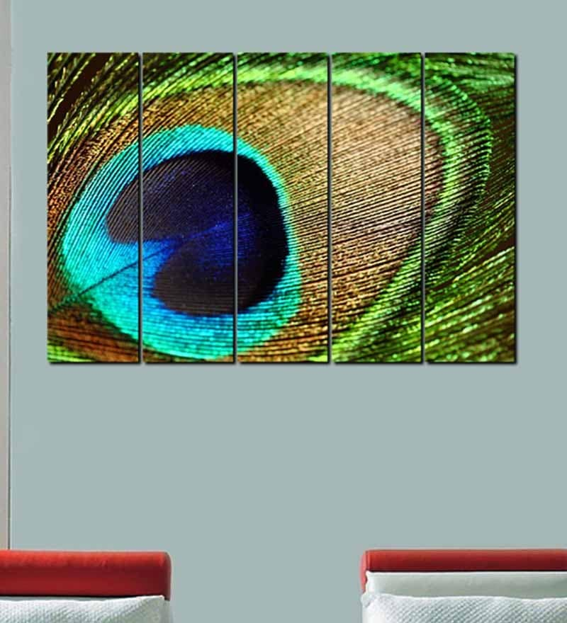 Multiple Frames Printed Peacock Feathers Art Panels like Painting - 5 Frames by 999Store