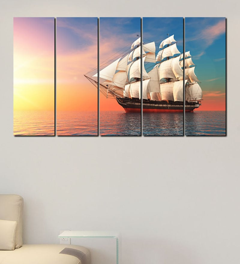 Multiple Frames Printed Ship in the sea Art Panels like Painting - 5 Frames by 999Store