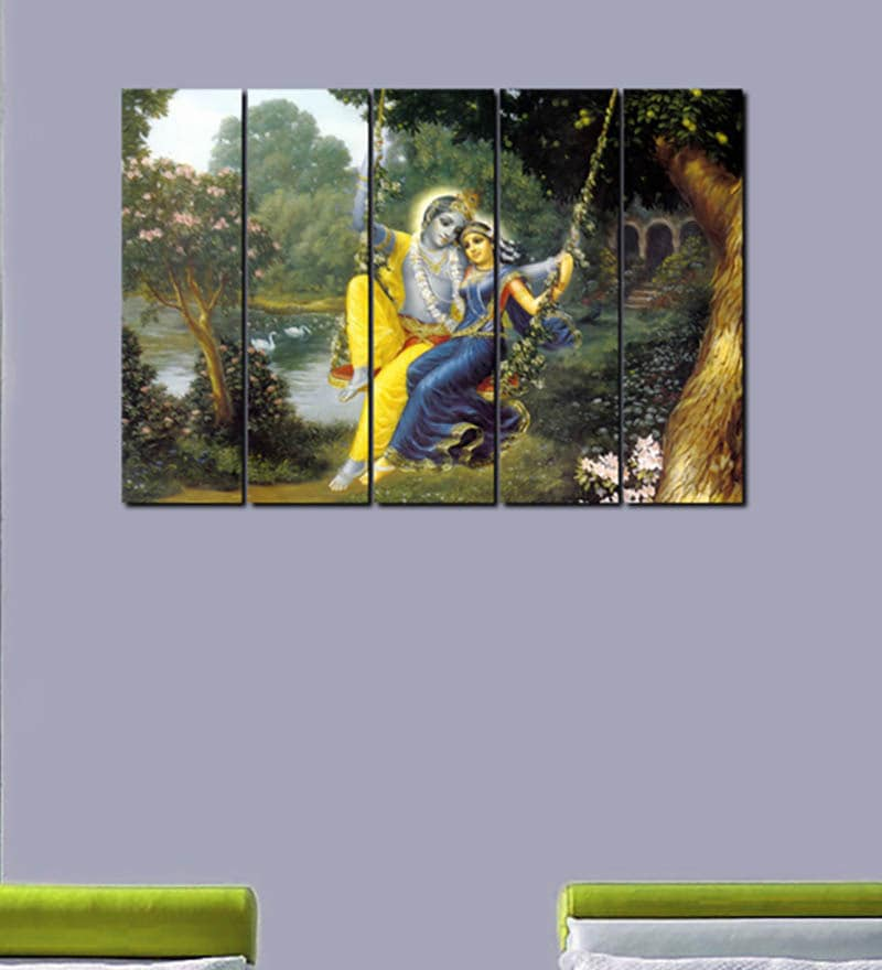 Multiple Frames Printed Shri Krishna with Radha Art Panels like Painting - 5 Frames by 999Store