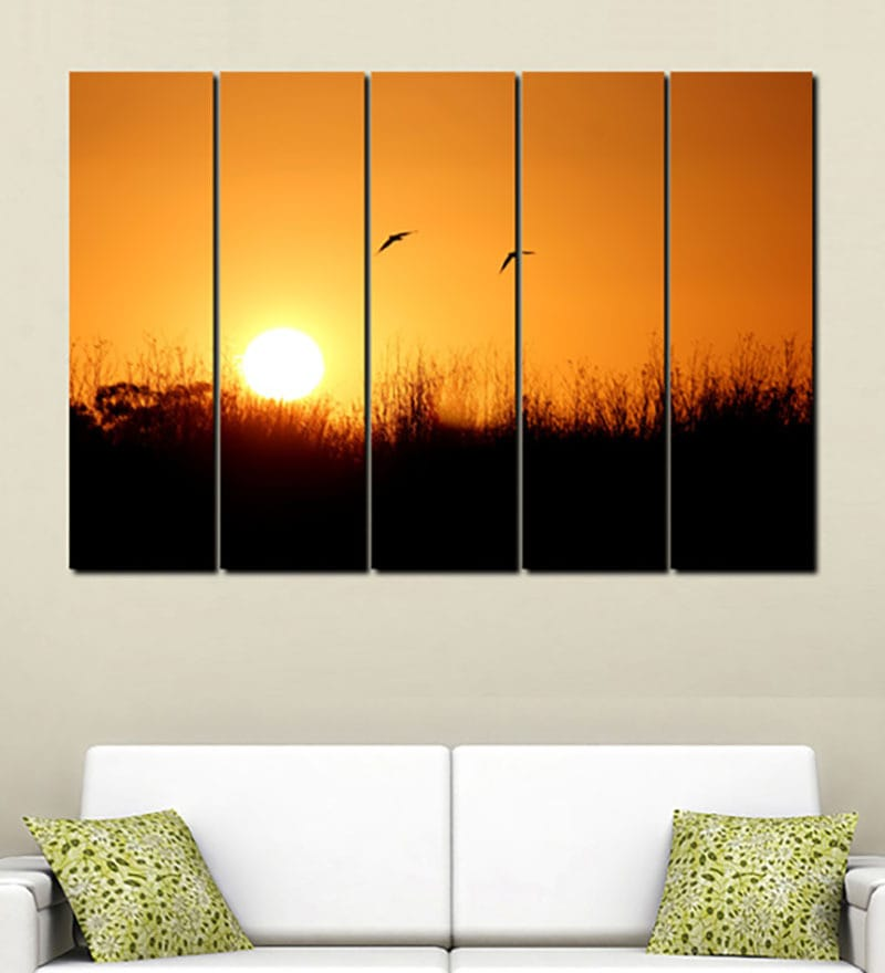 Multiple Frames Printed Sun Set Panels like Painting - 5 Frames by 999Store