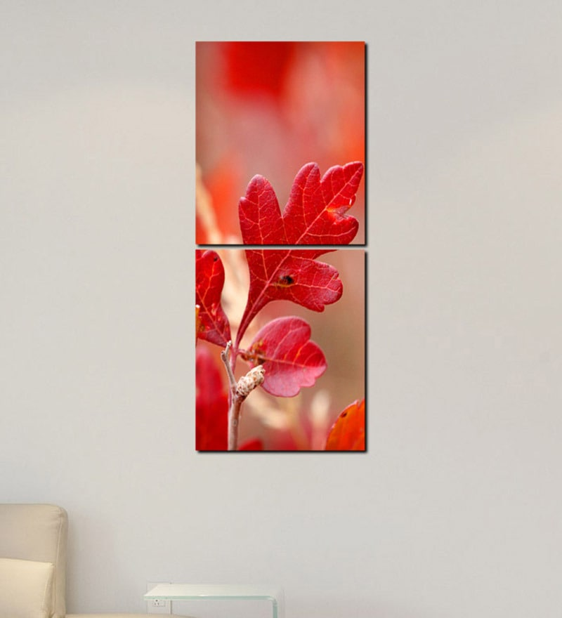 Multiple Frames Red Leaves Art Panels like Painting - 2 Frames by 999Store