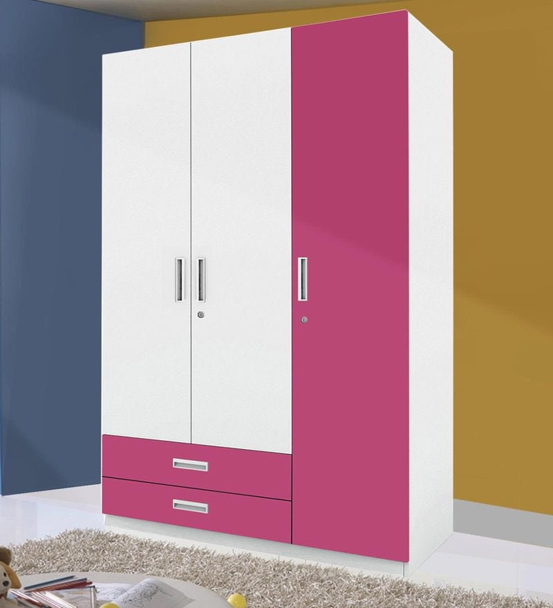 Buy Mural Three Door Wardrobe With External Drawer In Pink