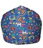 Muddha Sofa Bean Bag Cover without Beans with Blue Indian Pattern by Sattva