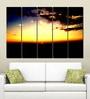 Multiple Frames Printed Sun Set Art Panels like Painting - 5 Frames