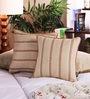 Muslin Beige Cotton 12 x 12 Inch Stripe Design Cushion Cover - Set of 2