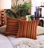 Muslin Multicolour Cotton & Polyester 12 x 12 Inch Stripe Design Cushion Cover - Set of 2