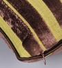 Muslin Multicolour Velvet 12 x 12 Inch Stripe Design Cushion Cover - Set of 2