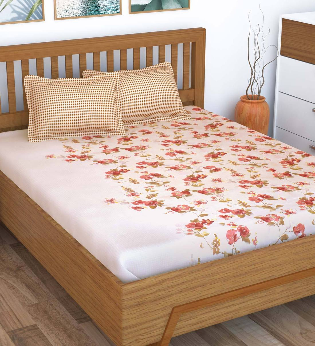 Buy Myra 100 Cotton 186tc Double Bedsheet With 2 Pillow Cover By Story Home Online Floral Double Bed Sheets Bed Sheets Furnishings Pepperfry Product