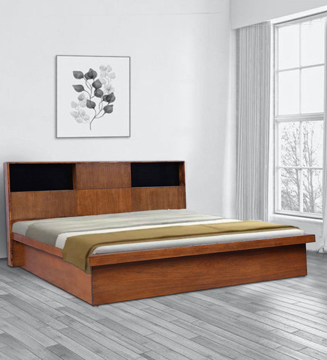 Picture of: Buy Mystique Queen Size Platform Bed With Storage In Walnut Finish By Hometown Online Platform Queen Size Beds Beds Furniture Pepperfry Product