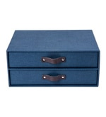 My Gift Booth Canvas Navy Blue Document Drawer File Box