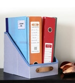 My Gift Booth Cotton & MDF Blue File & Magazine Organiser