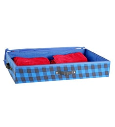 My Gift Booth Check Artificial Crepe Blue Clothes Organiser