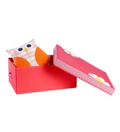 My Gift Booth Flower Cotton & MDF 30L Red Lidded Storage Box