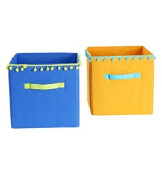 My Gift Booth Pom Pom Lace Non-Woven Storage Bins - Set Of 2 - 1627402