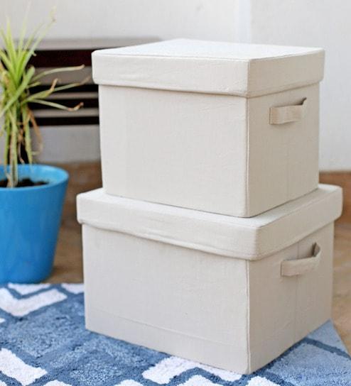 Bon My Gift Booth Linen Beige Storage Box   Set Of 2