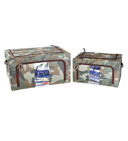 My Gift Booth Camouflage Print Nylon Green 30 L Storage Box - Set of 2 53e3a0afba2e0