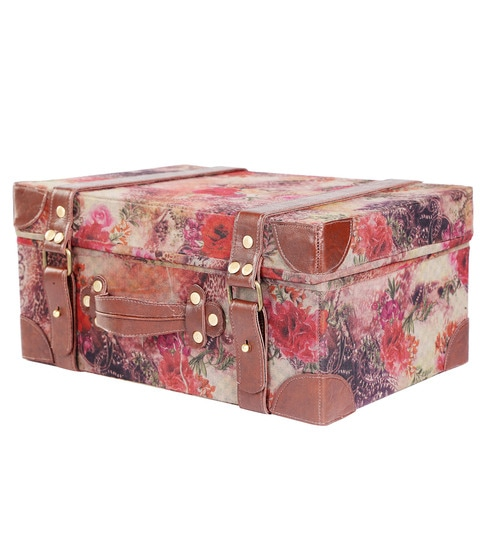 My Gift Booth Cotton Brown Printed Travel Vanity Box
