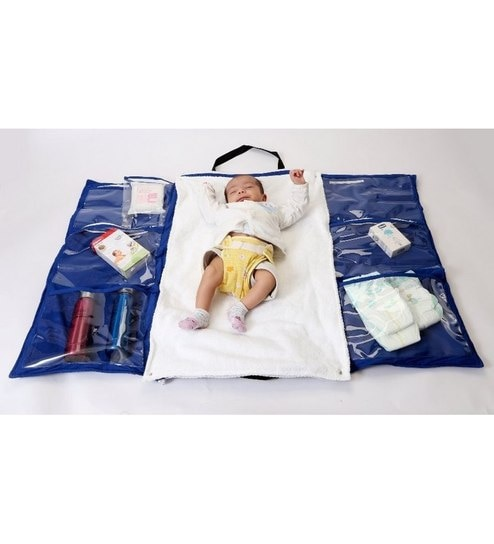 My Gift Booth Cotton Lycra Fabric Blue Colour Infant Travel Organizer
