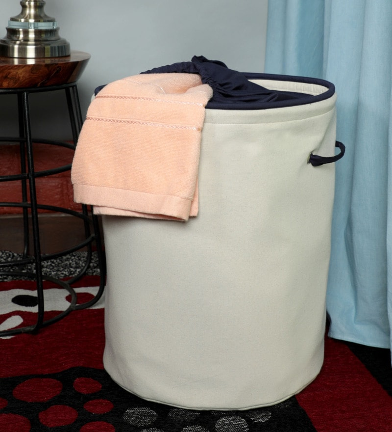 Canvas Grey Laundry Basket, 20 Ltr by My Gift Booth