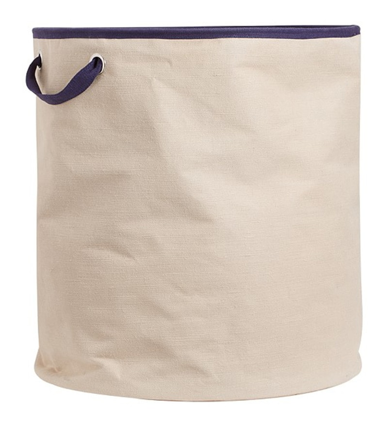 My Gift Booth Canvas 20 L Beige & Blue Laundry Bag