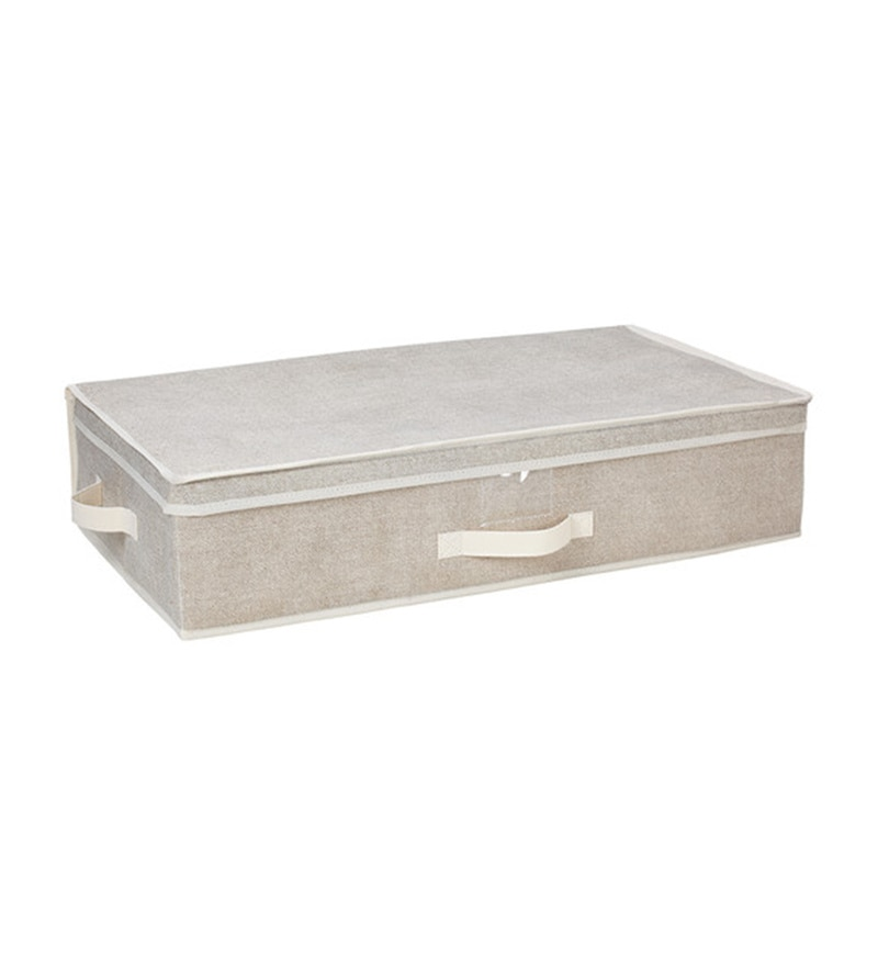 Canvas Beige Lidded Under Bed Organiser by My Gift Booth