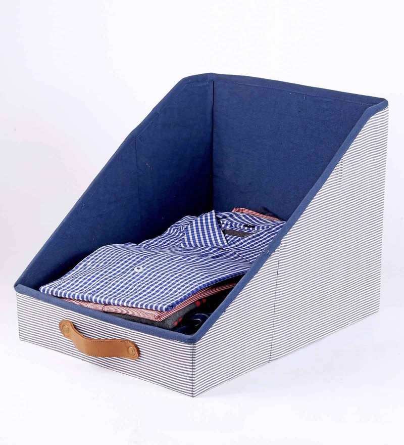Cotton & Mdf 10 L Navy Blue Clothing Storage Bin by My Gift Booth