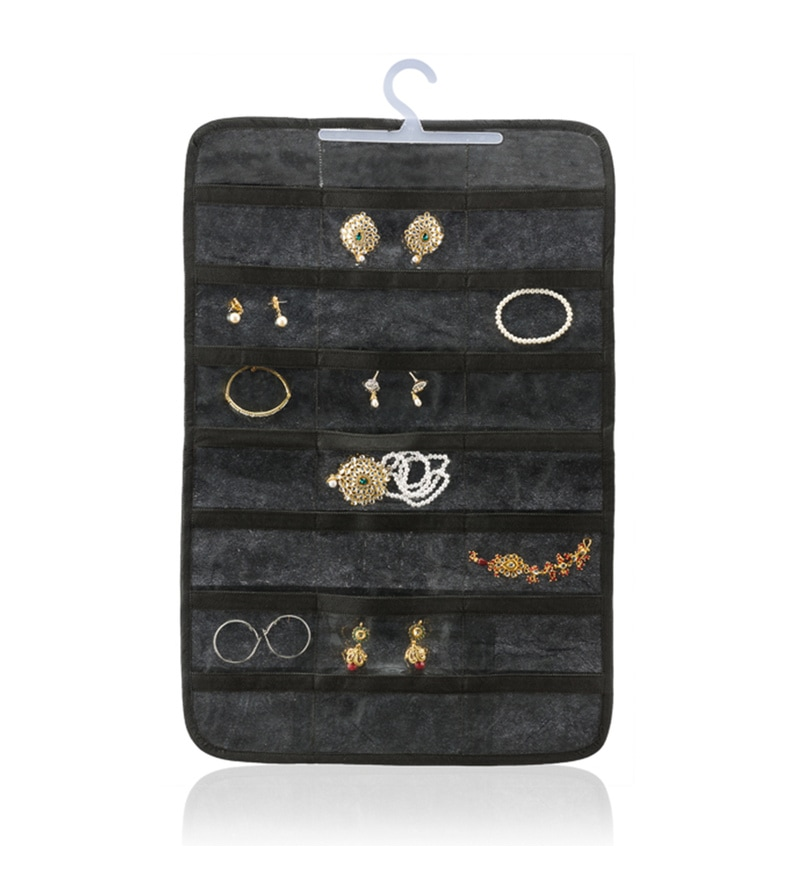 Non-Woven & Pvc Black 42 Pocket Jewellery Organiser by My Gift Booth