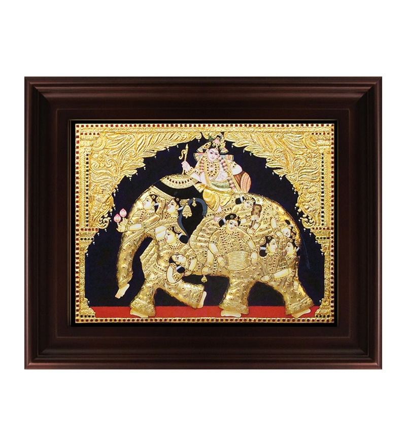 Multicolour Gold Plated Iyaravatham Plywood & Cloth Framed Tanjore Painting by MyAngadi