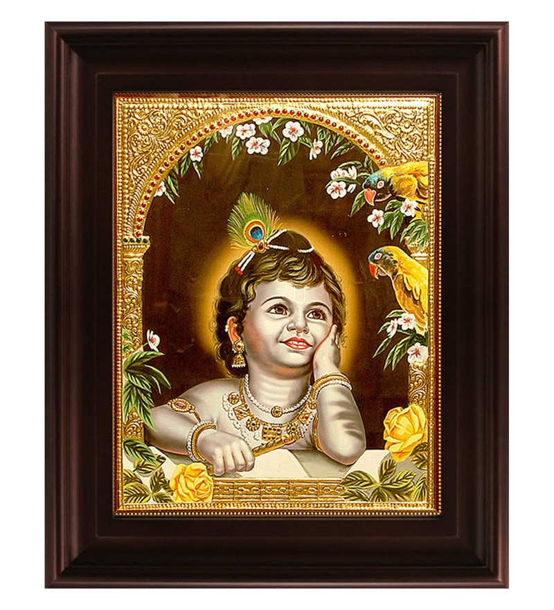 Multicolour Gold Plated Parrot Krishna Tanjore Framed Painting by MyAngadi