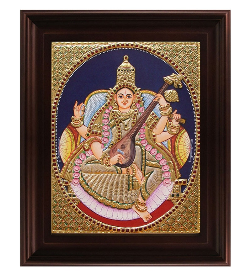 Multicolour Gold Plated 2.9 X 14 X 18 Inch Saraswathi Framed Tanjore Painting by MyAngadi