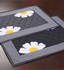 My Gift Booth Flower Pattern Black Cotton Table Mat - Set of 6