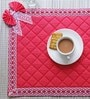 My Gift Booth Red Cotton Quilted Lace Mat - Set of 6