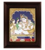 Multicolour Gold Plated Butter Krishna Tanjore Framed Painting by MyAngadi