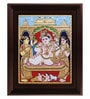 Multicolour Gold Plated Durbar Krishna with Butter Tanjore Framed Painting by MyAngadi