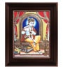 Multicolour Gold Plated Flute Krishna Tanjore Framed Painting by MyAngadi