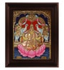 Multicolour Gold Plated Gaja Lakshmi Framed Tanjore Painting by MyAngadi