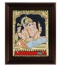 Multicolour Gold Plated Reading Ganesha Plywood & Cloth 2.9 X 14 X 18 Inch Framed Tanjore Painting by MyAngadi