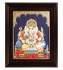 Multicolour Gold Plated Ganesha with Books Framed Tanjore Painting by MyAngadi
