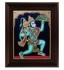 Multicolour Gold Plated Hanuman Framed Tanjore Painting by MyAngadi