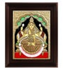 Multicolour Gold Plated Iswarya Lakshmi Cloth & Plywood Framed Tanjore Painting by MyAngadi