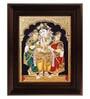 Multicolour Gold Plated Krishna Bama Rukmani Tanjore Framed Painting by MyAngadi