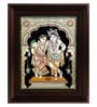 Myangadi Multicolour Gold Plated Krishna Rukmani Framed Tanjore Painting