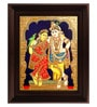 Multicolour Gold Plated Krishna Rukmani Plywood & Cloth Framed Tanjore Painting by MyAngadi